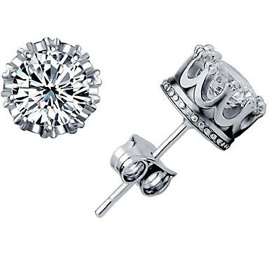 Σκουλαρίκι Crown Shape Κουμπωτά Σκουλαρίκια Κοσμήματα Γάμου / Πάρτι / Καθημερινά / Causal Ασήμι Στερλίνας Γυναικεία