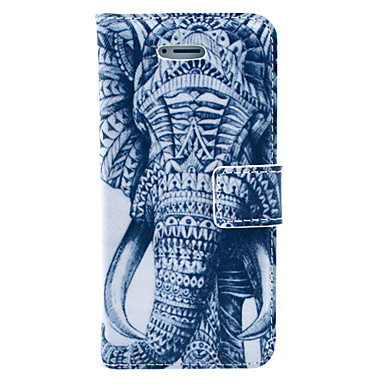 Tattoo Elephant Pattern PU Leather Case Cover with Stand and Card Holder for iPhone 5/5S