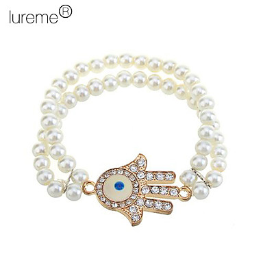 lureme®zircon bösen Blick Hand muster perle angeschlossenen Armband