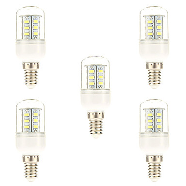 5 Stück 3W 450 lm E14 LED Mais-Birnen 24 Leds SMD 5730 Natürliches Weiß Wechselstrom 220-240V