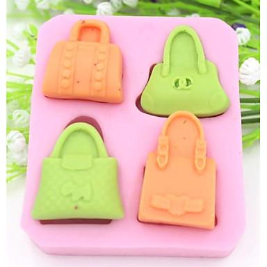 vier Löcher Handtasche geformt Fondantkuchen Schokoladensilikonform Kuchendekorationswerkzeuge, l8.5cm * w7.5cm * h1.6cm