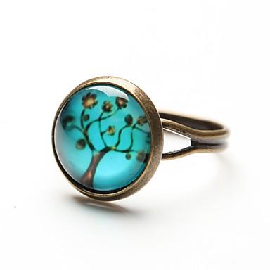 Kadın's Bildiri Yüzüğü - Reçine Moda Ayarlanabilir Mavi Uyumluluk Günlük