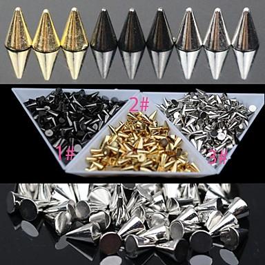 30pc Gold und Silber und schwarz-Legierung Punkkegelnagelkunstdekoration