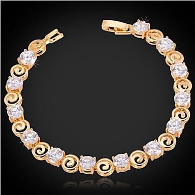 Dames Armbanden met ketting en sluiting Armband Tennis Armbanden Zirkonia Modieus Zirkonia Kubieke Zirkonia Platina Verguld Verguld