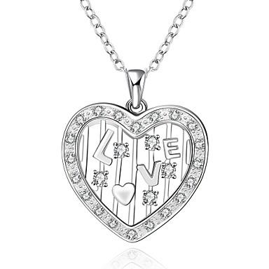 Női Rövid nyakláncok Nyaklánc medálok Nyilatkozat nyakláncok Függők Szintetikus drágakövek Ezüst Cirkonium Kocka cirkónia Szerelem Divat