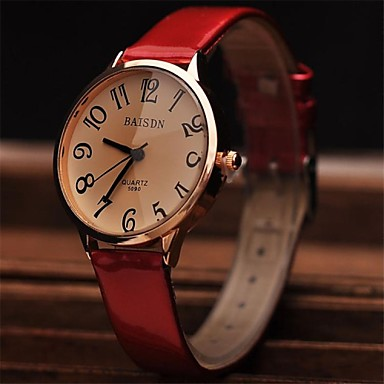 Dames Modieus horloge Polshorloge Dress horloge Kwarts Leer Band Rood