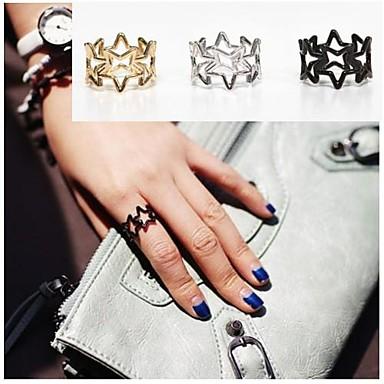 Kadın's Bildiri Yüzüğü - alaşım Kalp 5 Siyah / Gümüş / Altın Uyumluluk Parti Günlük