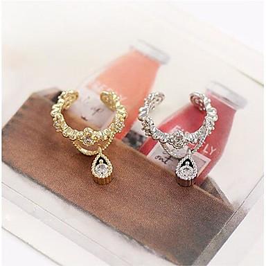 Synthetischer Diamant Ohr-Stulpen - Tropfen Geburtssteine Silber / Golden Für Hochzeit Party Alltag