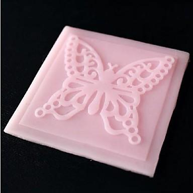 kelebek dantel kabartma * w6.8cm * h0.3cm fondan kek çikolata silikon kalıp pedi, kek dekorasyon araçları, l6.8cm ölür