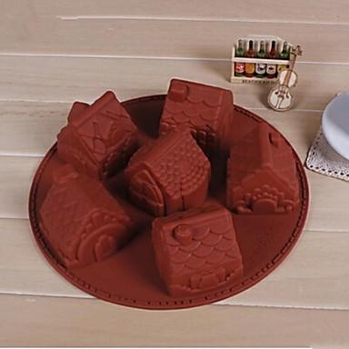 6 buracos molde pequena casa de forma de bolo