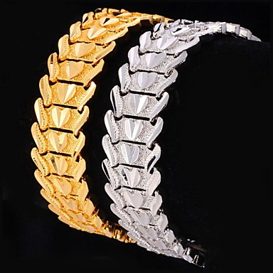 Kadın's Tıknaz Zincir & Halka Bileklikler - Platin Kaplama, Altın Kaplama Kalp, Aşk Kişiselleştirilmiş, Lüks, Klasik Bilezikler Gümüş / Altın Uyumluluk Yılbaşı Hediyeleri Düğün Parti
