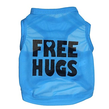 Gato Cachorro Camiseta Roupas para Cães Carta e Número Azul Terylene Ocasiões Especiais Para animais de estimação