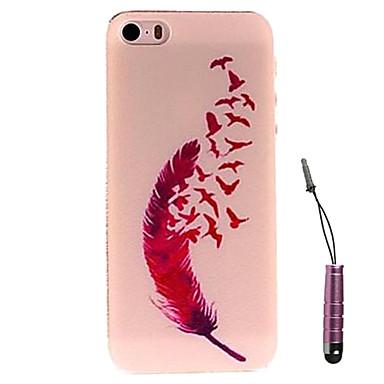 красный перо птицы шаблон жесткий кейс& стилус для iPhone 5 / 5S