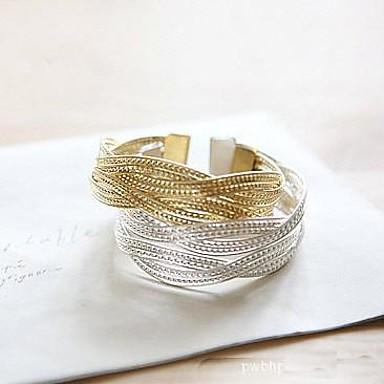 mode gebreide gouden lichtmetalen bedelarmband (1 st) (zilver)