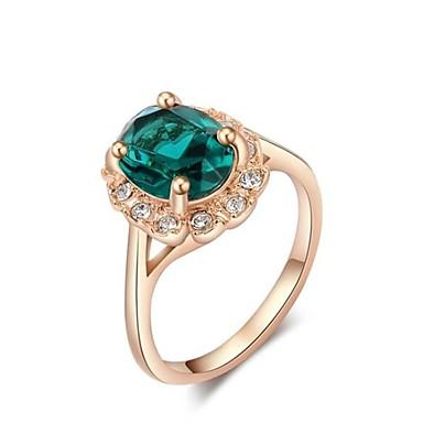 Damen Grün Statement-Ring Ring - Roségold Modisch 5 / 6 / 7 / 8 / 9 Rotgold Für Alltag