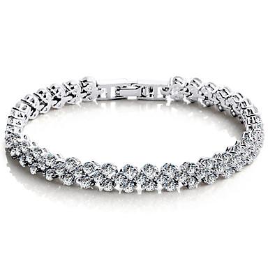 dc3c339f1033 Mujer Cristal Cadenas y esclavas Tenis pulseras Plata de ley Cristal  Zirconio Amor damas Lujo Vintage