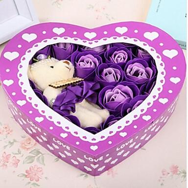presente do dia 20pcs amor romântico rosas sabão flores dos namorados com um urso