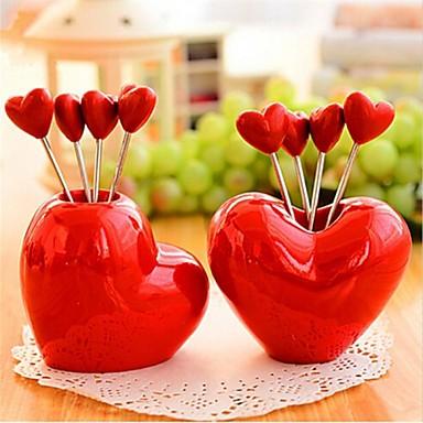 hartvorm roestvrij staal fruit vorken, roestvrij staal 7,5 x 7,5 x 6,5 cm (3,0 × 3,0 × 2,6 inch) willekeurige aard