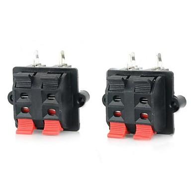 dubbele rij plastic spreker bedrading klemmen / clips - zwart + rood (2 stuks)