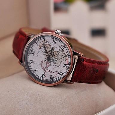Kadın's Quartz Bilek Saati Gündelik Saatler PU Bant Vintage / Dünya Haritası Desen / Moda Siyah / Kırmızı / Kahverengi