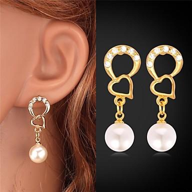 Druppel oorbellen Hart Imitatieparel Strass Verguld Legering Hartvorm Gouden Sieraden Voor Bruiloft Feest Dagelijks Causaal Sport
