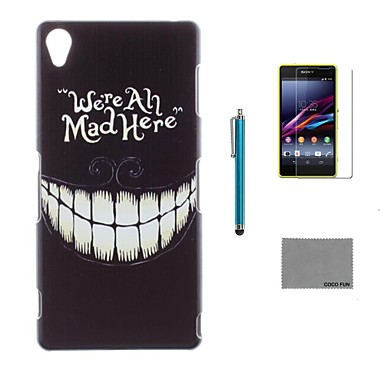 coco fun® zwarte glimlach patroon pc harde achterkant van de behuizing cover met screen protector en stylus voor sony z3 mini