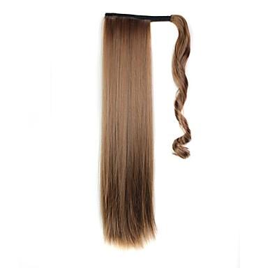 Ίσια Αλογορουρές Συνθετικός Κομμάτι μαλλιών Hair Extension Μπεζ Καθημερινά