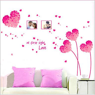 rosa removível ambiental padrão coração amoroso PVC autocolante