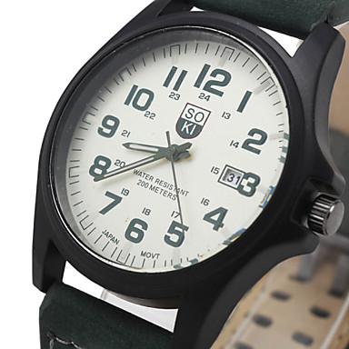 זול שעוני גברים-בגדי ריקוד גברים שעון יד ציד קווארץ עור חום / ירוק / חאקי לוח שנה יום תאריך אנלוגי קלסי יום יומי אופנתי אריסטו - ירוק שחור לבן שחור שנה אחת חיי סוללה