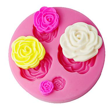 quatro c fondant decoração molde 3d aumentou decoração do bolo suprimentos cor-de-rosa sm-018