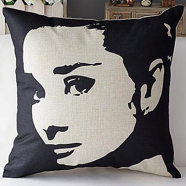 μοντέρνο στυλ προσώπου Audrey Hepburn μοτίβο βαμβάκι / λινό κάλυμμα διακοσμητικό μαξιλάρι