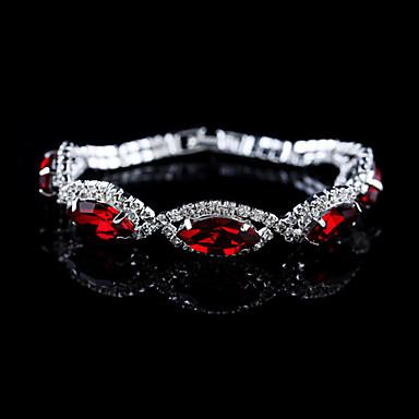 Ανδρικά Γυναικεία Βραχιόλια με Αλυσίδα & Κούμπωμα Βραχιόλια Silver Bracelets Κρύσταλλο Στρας Κράμα Κοσμήματα Για Γάμου Πάρτι Καθημερινά