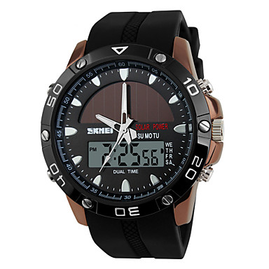 SKMEI Heren Digitaal Digitaal horloge Sporthorloge Chronograaf Zonne-energie Dubbele tijdzones Silicone Band Luxe Zwart