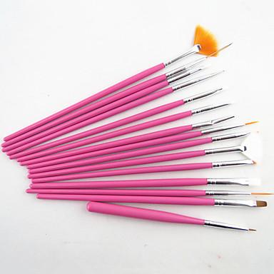 15pcs Akrilik Tırnak Fırçası Tırnak Fırçaları tırnak sanatı Manikür pedikür Tahta / Naylon / Metal Klasik Günlük