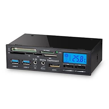 5,25 polegadas 6 em 1 USB 3.0 multi-função leitor de mídia do painel de controle do ventilador lcd cartão de dashboard