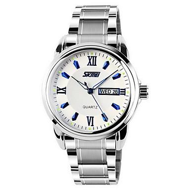 SKMEI Homens Relógio Elegante Quartzo Quartzo Japonês Calendário Impermeável Aço Inoxidável Banda Prata