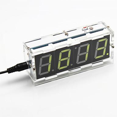 diy 4-cijferige zeven-segment display digitale lichtregeling bureauklok kit (geel licht)