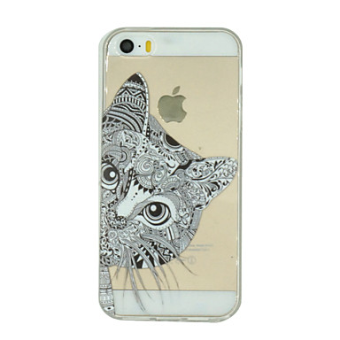 Case For iPhone 7 / iPhone 7 Plus / iPhone 5 iPhone 5 Case Transparent / Pattern Back Cover Cat Soft TPU for iPhone 7 Plus / iPhone 7 / iPhone SE / 5s