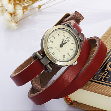 Mulheres Quartzo Relógio de Pulso Bracele Relógio Relógio Casual Couro Banda Vintage Boêmio Branco Azul Vermelho Laranja Marrom Verde