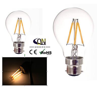 b22 levou lâmpadas de filamento a60 (a19) 4 cob 400lm branco quente 2800-3200k dimmable ac 220-240 ac 110-130v