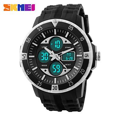SKMEI Ανδρικά Χαλαζίας Αθλητικό Ρολόι Συναγερμός Ημερολόγιο Χρονογράφος Ανθεκτικό στο Νερό Διπλές Ζώνες Ώρας LCD σιλικόνη Μπάντα Απίθανο