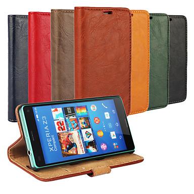 schors grain lederen full body hoes met standaard en case voor de Sony Xperia Z3 compact (verschillende kleuren)