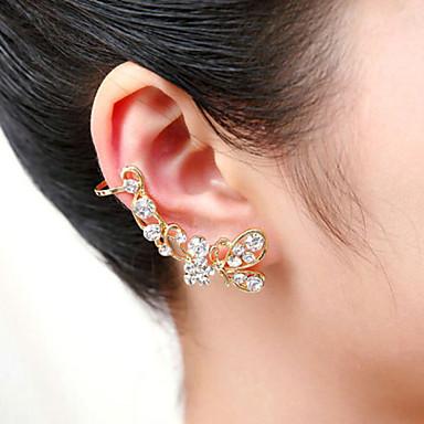 Homens Feminino Punhos da orelha Cristal Acrílico Prata Chapeada Chapeado Dourado Imitações de Diamante Formato Animal Borboleta Jóias