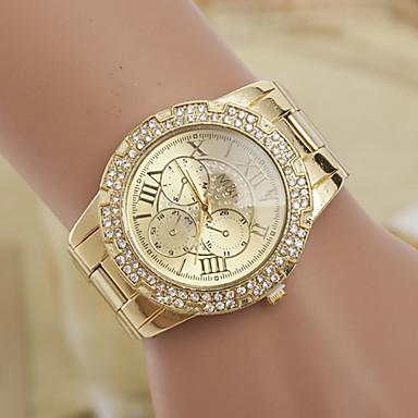 yoonheel Mulheres Simulado Diamante Relógio Relógio de Moda Quartzo suíço imitação de diamante Designers Metal Banda Amuleto Dourada