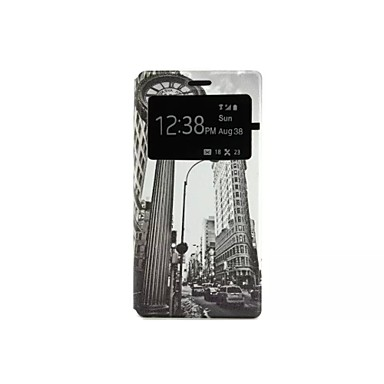 retro klok patroon fenestration caller id patroon pu leer full body case voor Huawei p8