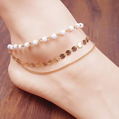 jóias cadeia círculo pérola pulseira tornozeleira anel corpo pé praia (branco, 1 pcs)