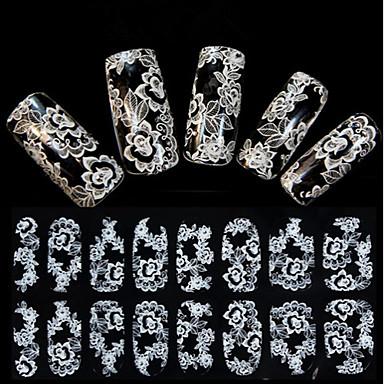 1 pcs 3D Tırnak Çıkartması Dantel çıkartmalar tırnak sanatı Manikür pedikür Çiçek / Düğün / Moda Günlük / Dantel Çıkartması / 3D Çivi Çıkartmaları