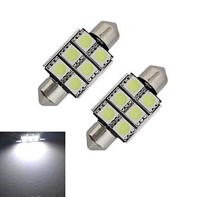 2pcs 1.5 W 100-150 lm Festoon 장식 조명 6 LED 비즈 SMD 5050 차가운 화이트 12 V / 2개