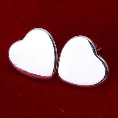 Mulheres Brincos Curtos Coração Prata de Lei Coração Jóias Casamento Festa Diário Casual