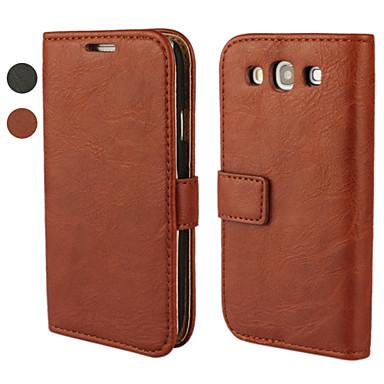 Για Samsung Galaxy Θήκη Πορτοφόλι / Θήκη καρτών / με βάση στήριξης / Ανοιγόμενη tok Πλήρης κάλυψη tok Μονόχρωμη Συνθετικό δέρμα Samsung S3